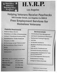 Homeless Veterans Registration Program